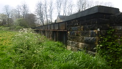 Huddersfield   Newtown - Mirfield  old railway -   former railway bridge, Deighton Rd (dave_attrill) Tags: huddersfield newtown hillhouse mirfield lmsr london midland scottish railway disused line goods only branch trackbed deighton west yorkshire riding cycle path foothpath ncn connection sheffieldtobradford closed 1937 bridge parapet road rd filled cutting april 2017