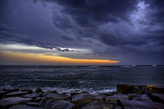 Approaching Storm at Sunset (crabsandbeer (Kevin Moore)) Tags: oc birds landscape oceancity weather storm wind rain sunset seascape ocean waves clouds stormclouds water maryland