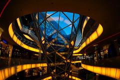 [Explore #185] My Zeil (Froschkönig Photos) Tags: my zeil myzeil frankfurt mall glas gelb blau blue yellow 6000 a6000 ilce6000 sonyalpha6000 sel16f28 2017 ecf fisheye fischauge kaufhaus explore