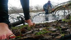 crossing the icecold lake (marcostetter) Tags: tinyjeans wetjeans coldwater barefoot winter wetlook wet wetclothes wetclothing fullyclothed