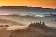 Magic twilight (PhoMTo) Tags: landscape sunrise fog red italy twilight orange magic landscapes dawn italia toscana tuscany alba nebbia