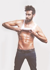 (oma0611) Tags: boy man male men guy magazine hair beard model skin body muscle pack six abs sixpack fitnnes