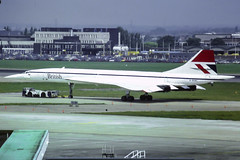 British Concorde SST 1-102 G-BOAC (happyrelm) Tags: heathrow aircraft jets concorde british ba airlines sst airliner lhr egll gboac lhrheathrow1980slidescan