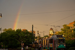 Coolidge Corner Rainbow (petemonge) Tags: sunset rain boston corner train rainbow harvard coolidge mbta brookline beacon