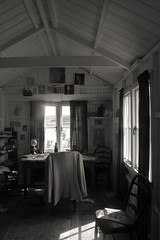 """Only you  can see, in the blinded bedrooms, the combs and petticoats  over the chairs, the jugs and basins, the glasses-of-teeth"" (brackenb) Tags: southwales wales carmarthenshire dylanthomas wfc undermilkwood laugharne photomeet writingshed wfclaugharne"