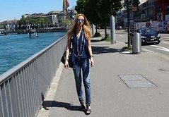 Studded Jeans (Love by N) Tags: limited edition lady dior pearls black roberta biagi studded jeans studs love culture navy top hermes collierdechien wedge adrienne vitaddini pearlpearl rayban sunglasses zurich switzerland limmat river summer sun