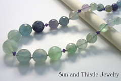 Fluorite, Amethyst, Silver Necklace 2 (Sun and Thistle Jewelry) Tags: silver necklace beads leaf jewelry womens faceted round sterling clasp amethyst toggle fluorite rondelles