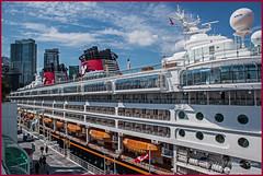 "Closeup of Disney Cruise Ship ""Disney Wonder"" in Coal Harbour, Vancouver, Canada. (Bill E2011) Tags: ocean canada vancouver boat ship pacific harbour disney cruiseship disneywonder coalharbour"