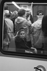 metro (Magne M) Tags: blackandwhite woman paris france girl underground candid tube spotted earphones deerinheadlights monochrone chiq
