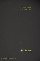 Netherworld Interloper - Comet ISON (C/2012 S1) + Mars (Steven Christenson) Tags: mars iso800 leo sanjose regulus comet ison f7 singleexposure 3minutes 770mm unguided equatorialmount lightpolluted c2012s1
