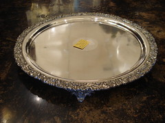 "LARGE ROUND OLD SHEFFIELD PLATED TRAY WITH UN-MONOGRAMMED STERLING INSERT. • <a style=""font-size:0.8em;"" href=""http://www.flickr.com/photos/51721355@N02/10613615864/"" target=""_blank"">View on Flickr</a>"