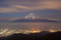 Mt Fuji and Kawaguchiko (baddoguy) Tags: longexposure cloud nature japan horizontal fog volcano cityscape tranquility nopeople landmark images getty fujisan naturalwonder iconic mtfuji yamanashi kawaguchiko coneshape traveldestination