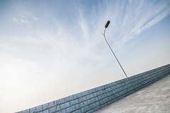 Street Lamp (Picocoon) Tags: road sky lamp day cloudy dam hefei