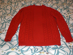 Red aran wool sweater (Mytwist) Tags: red irish wool vintage ebay craft knitted aran crewneck knitwear cabled handgestrickt aranjumper aranstyle thistle2fine