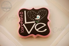 Love (Artfully Delicious Cookies) Tags: pink flowers white black bird love spring cookie heart live laugh 1cor13 1corinthians13 uploaded:by=flickrmobile flickriosapp:filter=nofilter