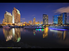 It is all Smooth Sailing in San Diego, California (Sam Antonio Photography) Tags: california park city longexposure nightphotography sunset vacation usa holiday reflection tourism water horizontal skyline architecture club night sailboat skyscraper port marina reflections boats outdoors photography evening bay harbor cityscape sandiego yacht dusk district citylife officebuilding nopeople journey citylights embarcadero slowshutter hyatt coastline lighttrails bluehour southerncalifornia multicolored motorboat luxury