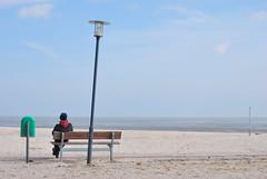 Spring Break (North German style) (Scilla sinensis) Tags: man cold beach bench spring sand solitude lantern var dustbin vår fotosondag fs140323