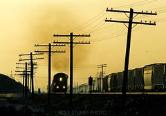Telegraph Road (rolfstumpf) Tags: usa california cajonpass devore yellow morning sunrise smoke telegraph codeline wires trains freight unionpacific emd sd60 railway railroad verdemont