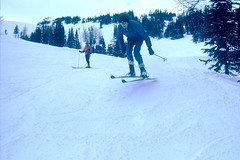Skiing at Sunshine Village in 1970, Banff, Alberta (Joseph Hollick) Tags: banff banffnationalpark ski skiing skijump sunshinevillage 35mmfilm 35mm