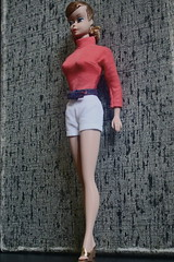 MS KENTON CHANNELS ANN MARGARET (DeanReen) Tags: vintage vtg titian ponytail pt swirl pts barbie doll 1960s 60s 1960 60 1961 61 1962 62 1963 63 1964 64 1965 65 outfit fashion clothing clothes ice breaker blouse busy gal belt pak shorts wedge heels wedgies wedges hoop earrings white red blue gold brown black cream ann margaret viva las vegas ms kenton mint condition nm m yellow hair ribbon