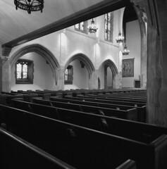 First Congregational Church (pavelpent) Tags: columbus church bwfilm blackandwhitefilm 6x6film mediumformatfilm mediumformat hasselblad hasselblad500cm ilford distagon50mm