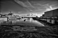 Docks (Svendborgphoto) Tags: ultrawide tamron17mm sp denmark svendborg monochrome maritime marine metal machinery nikon nautical bw blackandwhite boats shipyard