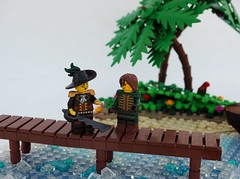 Definitely a Deal (Robert4168/Garmadon) Tags: lego brethrenofthebrickseas captainwhiffo dealer ship jollyboat palm tree island water dock boardwalk vegetation eslandola green jungle