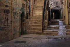 Narrow street in Jewish Quarter Jerusalem (Brett Streutker) Tags: jerusalem israel street old village city judaism east middle ancient alley long staircase town steps singlelaneroad narrow stone arch footpath builtstructure history cobblestone quarter buildingexterior mediterraneansea travel architecture mediterraneancountries traditionalculture humanage enclave peopletraveling steep journey brick antique past oldfashioned urbanscene