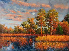 November, Descending Sun, Art Painting / Oil Painting For Sale - Arteet™ (arteetgallery) Tags: arteet oil paintings canvas art artwork fine arts autumn landscape tree nature yellow reflection green lake forest season water orange fall sky beautiful landscapes impressionism lakes rivers blue paint