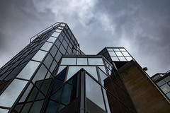 Architecture West End EPMG  (20 of 20) (Philip Gillespie) Tags: architecture edinburgh scotland mono buildings city sky spring form shape angles reflections clouds modern