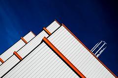 Orange lines.... (Isa-belle33) Tags: architecture urban urbain city ville street colors couleurs blue bleu orange white blanc geometry lines aquitaine charente fuji fujifilm fujixt1