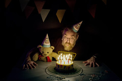 88/365 - the birthday party (possessed2fisheye) Tags: possessed2fisheye scottmacbride scott creativeselfportrait creative creativephotography creativeportrait selfportrait self portrait creativelighting justthetwoofus teddybear teddy beard beardyweirdy beardedman birthdayparty party birthdaycake cake birthdaycandles 365 365project project365 2017 project3652017 365project2017