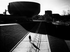 going to work (Sandy...J) Tags: street streetphotography atmosphere alone architecture blackwhite bw bavarian city monochrom man urban light darkness noir walking shadow munich germany