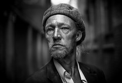 Defiance (antonywakefield) Tags: bw city coventgarden defiance london monochrome naturallight portraiture street
