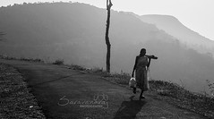 Back to home (Saravana Raj) Tags: lady worker teaestate lonely walking silhouette oldlady kerala monochrome