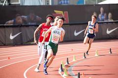 Noah cranking the 400m turn (Malcolm Slaney) Tags: 2017 arcadiainvitational dmr distancemedleyrelay paloalto paly tf trackandfield
