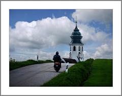 Fahrt zur Kirche (Drive to church) (alfred.hausberger) Tags: kirche moped strase perspektive himmel berg schmidham