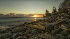 Sunrise after the storms (BAN - photography) Tags: debris driftwood rocks foreshore headland trees norfolkpines park burleighheads longexposure shells d810 sun clouds goldcoast