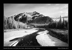 Cascade Mountain and Forty Mile Creek, Banff National Park, Alberta (kgogrady) Tags: banffnationalpark cascademountain fortymilecreek infrared landscape spring banff alberta canada 2017 blackandwhite westerncanada trees blackwhite xpro1 bw fujinon albertalandscapes ab fujifilmxpro1 xf14mmf28r fujifilm mountain snow nopeople parkscanada noone canadianlandscapes canadianrockies canadianmountains cans2s canadianrockieslanscape canadiannationalparks photosofbanffnationalpark picturesofbanffnationalpark