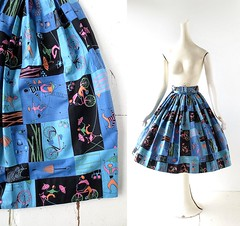 1950s The Acrobats novelty print full skirt with belt (Small Earth Vintage) Tags: smallearthvintage vintagefashion vintageclothing skirt 1950s 50s noveltyprint acrobats french circus bicycles fullskirt belt