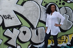 DSC_7951 Loretta Reggae Singer from Jamaica White Top Shoreditch On Location Photo Shoot Willow Street London Artwork We Love You (photographer695) Tags: loretta reggae singer from jamaica white top shoreditch on location photo shoot willow street london artwork we love you
