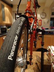 Made in Japan (stevenbrandist) Tags: panaracer minittough 406 moulton tsr27 tsr tyre tire maintenance workstand bicycle panasonic orange