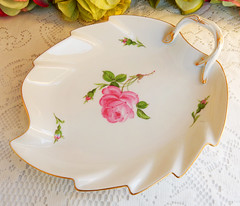 Meissen Porcelain Handled Dish ~ Roses ~ Gold ~ 1st Quality (Donna's Collectables) Tags: meissen porcelain handled dish ~ roses gold 1st quality