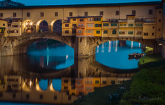 between reality and illusion (cherryspicks (on/off)) Tags: florence italy arno river bluehour longexposure pontevecchio landmark urban city historic boat water window arch stone reflection mirror light night