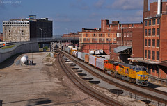 """Eastbound Manifest in Kansas City, MO (""""Righteous"""" Grant G.) Tags: up union pacific railroad railway locomotive train trains east eastbound manifest freight kansas city missouri emd tier iv emissions west bottoms"""