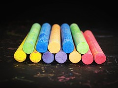 Colored chalk on a blackboard background (alansimpsonMe) Tags: chalk color red teacher yellow line leaf blackboard orange drawing paint type pink frame blue student school first education silly background board rainbow ground