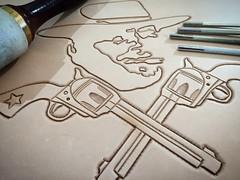 Leather Craft - Clint/Guns.. (Marius Mellebye / 276ccm) Tags: customseat customleather motorcycleseat motorcycle harleydavidson wetmolding lacing hell kangaroo clint eastwood clinteastwood gun guns leather tooling kustomkulture bobber chopper