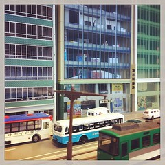 Shizuka street. http://n-rail.blogspot.com/ #japan #hobby #nscale #trolly (malcojojo) Tags: square squareformat earlybird iphoneography instagramapp uploaded:by=instagram