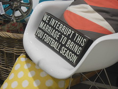 Sarcasm (mikecogh) Tags: sign football chair humour cushion sarcasm