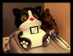 Day 136 (Angela-Marie) Tags: music cute cat work office ipod kitty speaker kiki michaelbuble